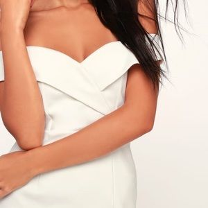 Classic Glam White Off-The-Shoulder Bodycon Dress